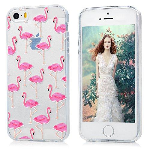Lanveni Housse iPhone 5/iPhone 5 SE, Case Coque étui Bumper Coque de Protection TPU Silicone Gel Souple Flexible Ultra Fine Mince Slim Légère Anti Rayure Antichoc - Flamant Flamant