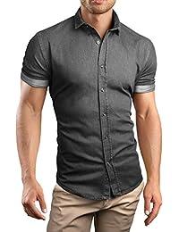 Grin&Bear custom Denim fit kurzarm Hemd Shirt Herrenhemd Jeans, SH690