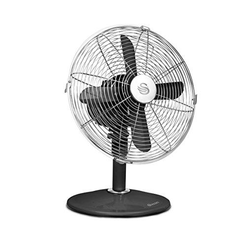51kyrcgwFfL. SS500  - Swan SFA12620BN Black Retro 12 Inch Desk Fan, Metal Blades, Oscillation and Tilt Function, 3 Speed Settings, Aluminium…