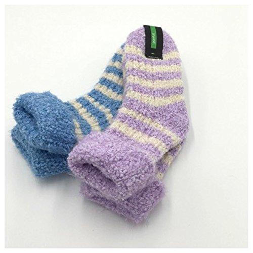 PURRFULL 2 Paia di calze da donna morbidissime e antiscivolo per la casa - Mod. SOFTINO Azzurro/Rosa