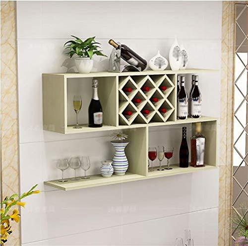 LYDB Weinregal Wandmontage Quadrat Gitter Weinschrank Pastoralen Weinregal Massivholz 5 Gitter 100 * 24 * 65 cm Set von 1, lang, 1 Meter, 4 (8 Quadrate) Weiß Ahorn Farbe