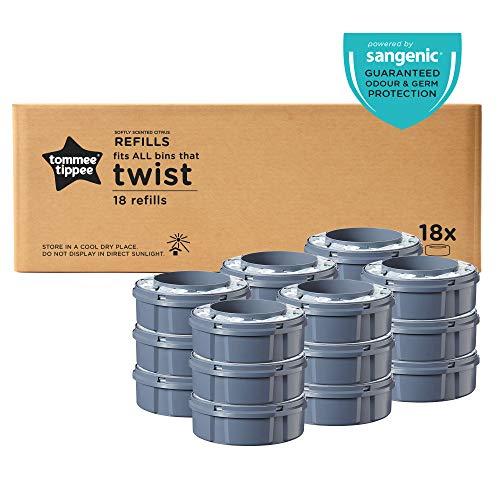 Tommee Tippee Windelentsorgungssystem Sangenic Nachfüllkassetten, geeignet für Sangenic Tec und Twist&Click Windeleimer, 85102311, grau, 18er Pack