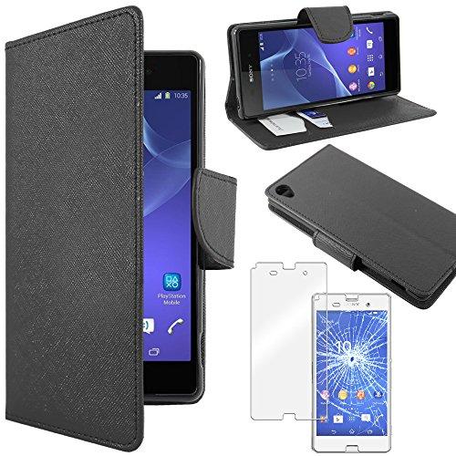 ebestStar - Coque Compatible avec Sony Xperia Z3 D6603 Etui PU Cuir Housse Portefeuille Porte-Cartes Support Stand, Noir + Film Protection écran Verre Trempé [Appareil: 146 x 72 x 7.3mm, 5.2'']