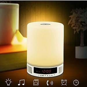 Portable Enceinte sans fil Bluetooth avec Interrupteur Tactile Veilleuse LED Blanc Chaud Batterie Rechargeable Dimmable Lumière de Nuit Haut-Parleur Bluetooth