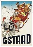 Herbé ™ Poster/Reproduction 40x60cm d'1 Affiche Vintage/Ancienne Ski Gstaad Suisse n130 / RéTRO...