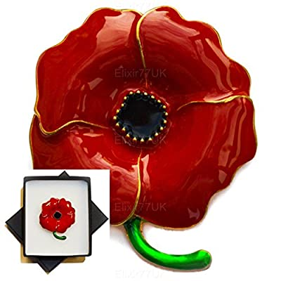 "New Boxed 1,8"" Large Poppy Gold Brooch Red Enamel Flower Pin Broach In Black Presentation Box Uk Seller"
