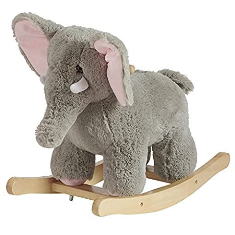 Animal Rocker Chair For Baby, Kids, Toddler, Children With Plush Seat (Elephant)