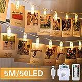 5M 50 LED Photo Clips Lumière Chaînes Guirlande Lumineuse Interieur Photo Chambre LED Batterie et USB Alimenté décoration suspendue Photo, Noël, Mariage, Fête (Blanc Chaud)