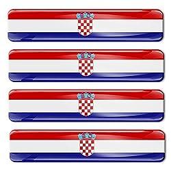 Biomar Labs®4 x Aufkleber 3D Gel Silikon Stickers Croatia Flag Kroatien Flagge Fahne Autoaufkleber F 5
