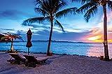 Twilight crepuscolo tramonto sulla spiaggia, circondato da palme e sabbia fotomurale by GREAT ART XXL poster decorazione da parete by GREAT ART (140 x 100 cm)