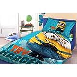 Unbekannt Faro Minions Biancheria da letto per bambini 160x 200cm federa 70x 80cm Try Harder, Cotone, Multicolore, 200x 160cm