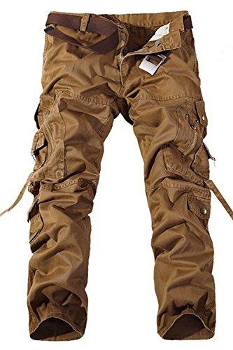 Menschwear Herren Cargo Hosen Freizeit Multi-Taschen Military pantaloni Ripstop Cargo da uomo Gelb