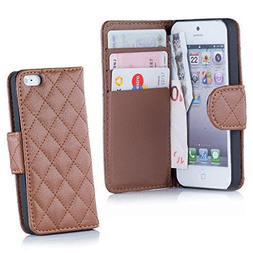 HSRpro Komfort Schutzhülle für iPhone SE / 5 / 5S mit Kartenfächer und Geldfach Handytasche Tasche Cover Case Etui Hülle in Braun (Bettdecke Wappen)