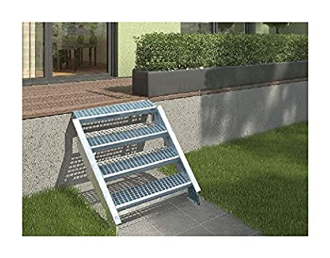 3-stufige Stahltreppe / Breite: 100 cm / Wangentreppe mit 3 Stufen / Inklusive Zubehör / Robuste Außentreppe Stabile Industrietreppe für den Außenbereich