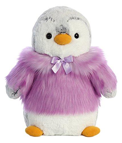 Aurora 74046 Purple Pompom Penguin Coat Coat Coat Plush Toy, GreyPurple, 11-Inch 034642