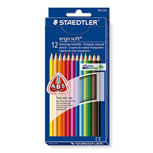 Staedtler Buntstifte ergo soft, erhöhte Bruchfestigkeit, dreikant, Set mit 12 brillanten Farben, ABS-System, rutschfeste Soft-Oberfläche, kindgerecht nach DIN EN71, FSC-Holz, Made in Germany, 157 C12