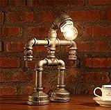 FACAIG Wasserleitungen Tischleuchte Industrial Vintage rustikalen Steampunk Schmiedeeisen Schlafzimmer Wohnzimmer Cafe Gemüse-chips Tischleuchte Studium Nachttisch Tischlampe kleine Puppen