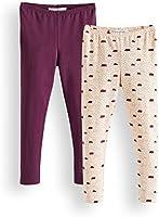 RED WAGON Girl's Leggings, Pack of 2, Multicolour (Cream Tan Potent Purple 13-1108 TCX 19-2520 TCX), 104 (Manufacturer Size: 4)