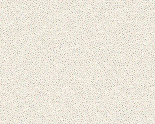 Oilily–Papel pintado, diseño de lunares blanco/Duck Egg/Beige