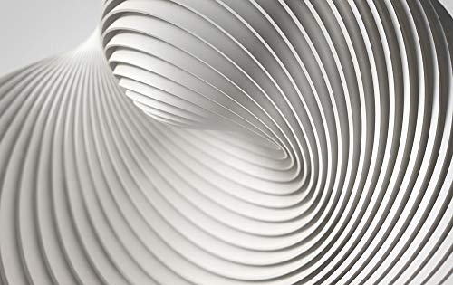 GRAZDesign Glasbilder Wohnzimmer modern Kunstdruck Abstrakt, Wanddeko Weiße Linien, Wandbild Welle / 120x80cm