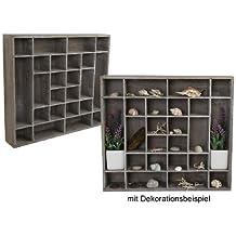 Estantería de madera de pared caja de colour marrón y blanco envejecido 40 cm x 45 cm