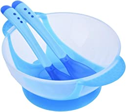 Skudgear BPA Free Baby Food Serve Bowl and Container with Lid, 2 Heat and Temperature Sensing Spoons, Vacuum Suction Hold (Blue)