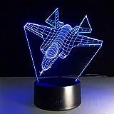 Coole Rc Spielzeug 3D Flugzeuge Kampfflugzeuge Tischlampe Mit Atmosphäre Lampe Touch-Schalter 7 Arten Von Farbwechsel Als Geschenke Shldxz