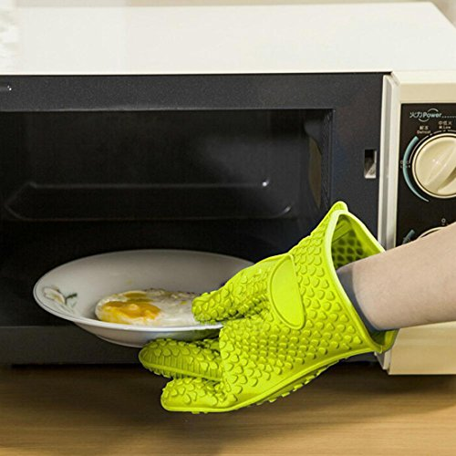 Evana Green color Heat Resistant Silicone Glove Cooking Baking BBQ Oven Pot Holder Mitt Kitchen