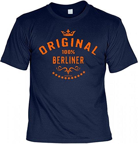 T-Shirt Set mit Minishirt als Geschenk - Original 100 Prozent Berliner - witziges Spruchshirt Berlin Hauptstadt Menschen Navyblau