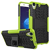 SsHhUu Huawei Honor Holly 3 Hülle, Premium Rugged Stoßdämpfung & Staubabweisend Kompletter Schutz Hybrid-Koffer mit Ständer Telefon Kasten für Huawei Y6 II/Huawei Honor Holly 3 (5.5