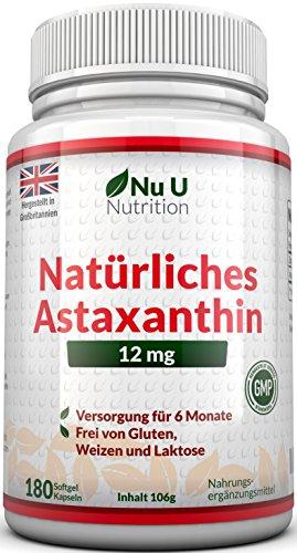 Astaxanthin 12 mg hochdosiert - 6-Monats-Versorgung - 180 Softgel-Kapseln - Nahrungsergänzungsmittel von Nu U Nutrition (Softgels Astaxanthin)