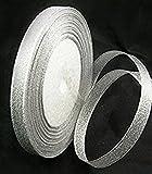 1 x 25 Yard Roll of 10mm Silver Metallic Organza Ribbon Christmas Wrap Presents - Crafts - Jewellery Making - Fashion Charms Decoration