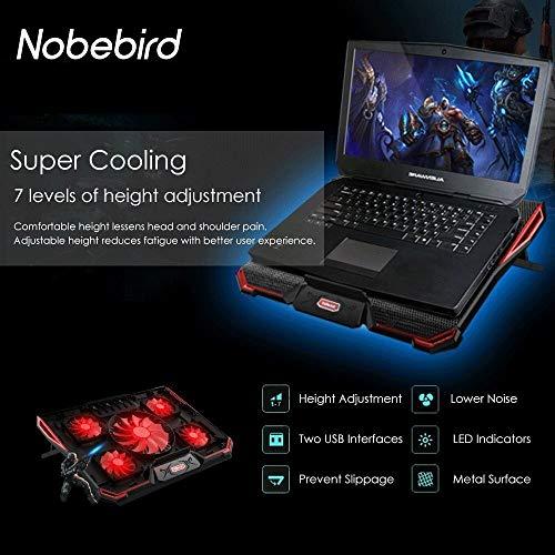 Laptop Kühler für 12-17,3 Zoll, Ultra Leise Notebook Kühler mit 5 Ruhige Lüfter und Roten LEDs, 7 Höheverstellbar,2 USB-Anschlüssen, verstellbare Windgeschwindkeit Laptop Cooling Pad für Gamer Gaming