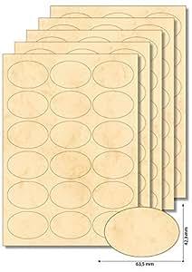 90 Etiketten oval Beige marmoriert zum Bedrucken, Beschriften, DIN A4, selbstklebend, leicht ablösbar, Marmeladenetiketten Haushaltsetiketten
