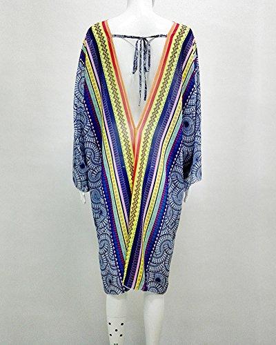 Donne Boho Cardigan Stile Floreale Kimono Chiffon Copricostumi per Spiaggia Bikini Coprire Blu
