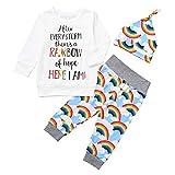 TTLOVE Kleinkind Baby MäDchen Jungen Brief Print Strampler Jumpsuit Rainbow Hosen Outfits Set 3Pcs Badebekleidung Und Hut Langarm Regenbogen Bademantel + Hose(Weiß1,80)