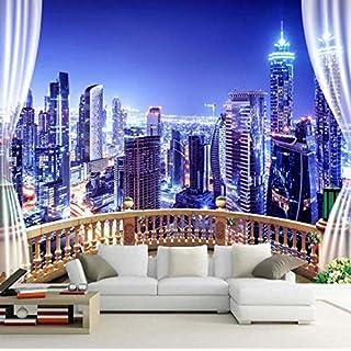 ATR 3D Fototapete Fenster Stadt Nachtsicht Große Gemälde Wandbilder Wand Papier Wohnzimmer Modernes Schlafzimmer, (W) 380X (H) 260 cm