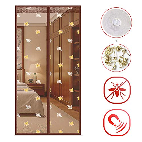 COLOM Mute Magnet Fliegengitter Tür, Verstärkt Heavy-Duty Mesh-Vorhang Für Balkon Eingang Terrasse, Pet Und Kinderfreundlich Bugs Flys Out-Kaffee 200x70cm(79x28inch) -