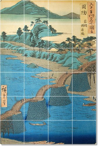 UTAGAWA HIROSHIGE UKIYO-E AZULEJO MURAL CASA REMODELACION IDEAS  24X 36PULGADAS CON (24) 6X 6AZULEJOS DE CERAMICA