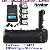 Kastar Pro Multi-Power Vertical Battery Grip (Replacement For BG-E13) + 4x LP-E6 Replacement Batteries + Ultra Fast Charger Kit For Canon EOS 6D Digital SLR Cameras