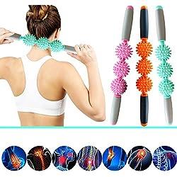 Rodillo de masaje muscular ergonómico de MHBY para músculos y celulitis, elimina grasas y alivia dolores de espalda y cuello , verde