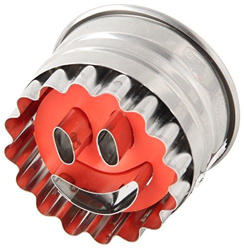 """Dr. Oetker Ausstecher Ø 5cm """"Smiley"""", Ausstechform für die Weihnachtszeit, Ausstecher mit Auswerfer für Plätzchen und Kekse - spülmaschinengeeignet (Farbe: silber/rot) Menge: 1 Stück"""