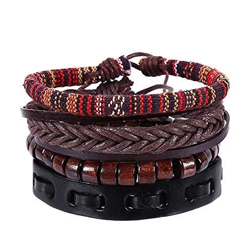 Männer Frauen 4 Stück Set Combo Perlen Lederarmband Rindsleder geflochten Armband Armband 2 Stück Kreatives Geschenk Si Combo