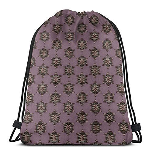 Boho Moroccan Star_1292 Rucksack mit Kordelzug Rucksack Umhängetaschen Leichte Sporttasche zum Wandern Yoga Gym Schwimmen Travel Beach