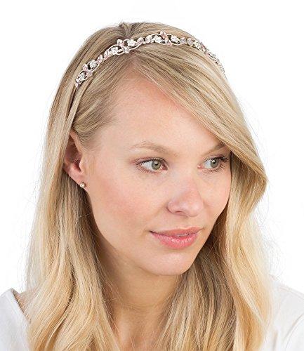 SIX Party feiner silberner Haarreif Kopfreif mit weißen Blumen und leicht rosa Strass Blättern (315-467)