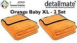 2 Stück Set ! Orange Baby XL - Mikrofaser Trockentuch, 90 x 60 cm, Liquid Elements Extra großes Trockentuch für die schonende Fahrzeugpflege