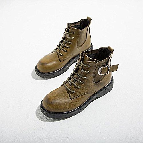 Hsxz Femmes Pu Chaussures Automne Hiver Confort Mode Bottes Bottes Bloc Talon Bout Rond Bottillons / Chaussons Occasionnels Militaire Vert Noir Brun Marron