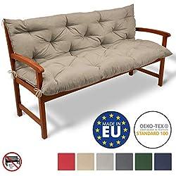Coussin pour Banc de Jardin, terrasse, Balcon - balancelle - Banquette - Assise Confortable - 150x50x50 cm - Nature