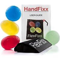 FlexFixx Eiförmige Griffbälle Handtrainer + Zubehör - 4er Set für schnelle Erfolge - Handgymnastik Handmuskeltrainer für Damen & Herren - Unterarmtrainer + Fingertrainer