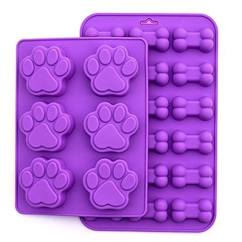Sweet cookie Krümel Puppy Hund Pfotenabdruck und Knochen Silikon Form, 2Stück Set